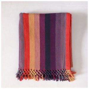 Boho striped couch throw with fringe